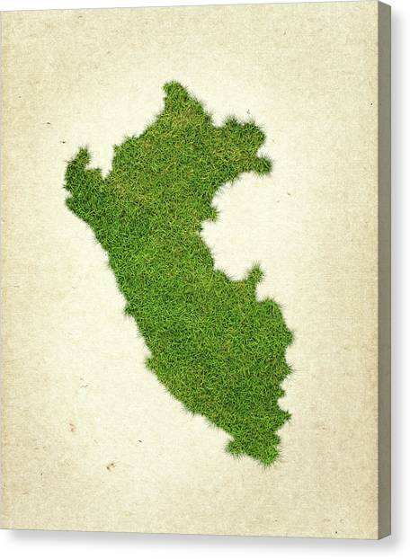 Peruvian Canvas Print - Peru Grass Map by Aged Pixel