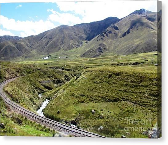 Peru Mountain Pass Rail Road Canvas Print