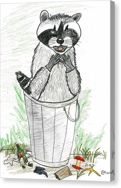 Pesky Raccoon Canvas Print by Ethan Chaupiz