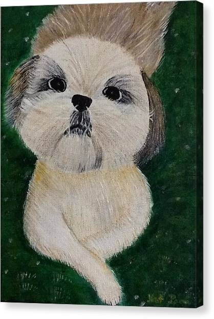 Pet Dog Canvas Print by Kat Poon
