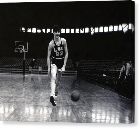 Atlanta Hawks Canvas Print - Pete Maravich Dribbling Between Legs by Retro Images Archive