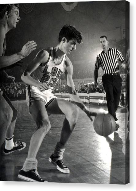 Pennsylvania State University Canvas Print - Pete Maravich Dribbling by Retro Images Archive