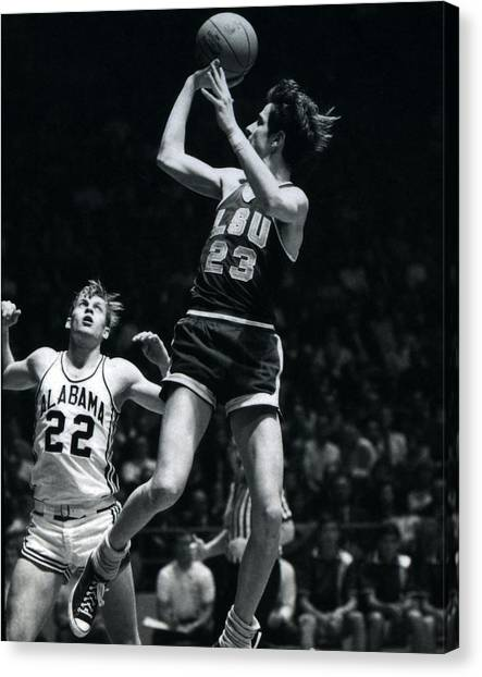 Pennsylvania State University Canvas Print - Pete Maravich Fade Away by Retro Images Archive