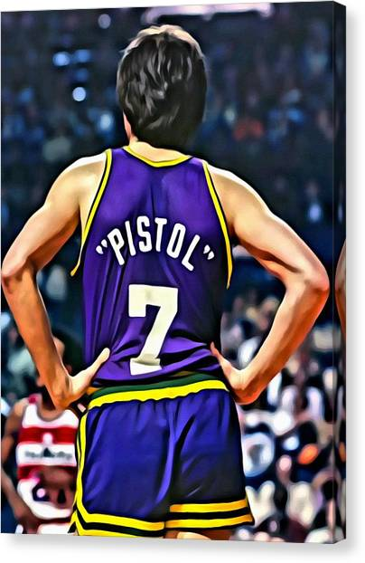 Utah Jazz Canvas Print - Pete Maravich by Florian Rodarte