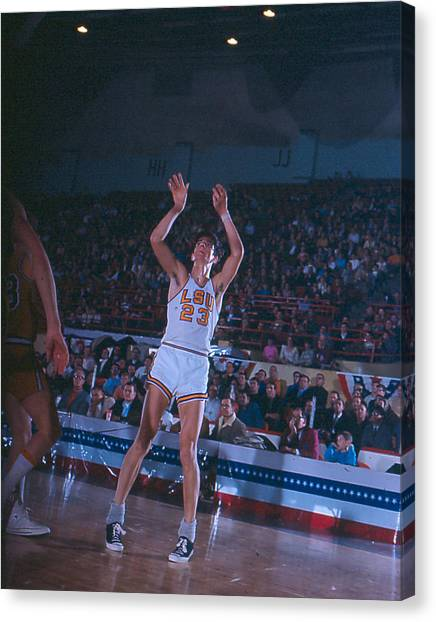 Pennsylvania State University Canvas Print - Pete Maravich Follow Through by Retro Images Archive