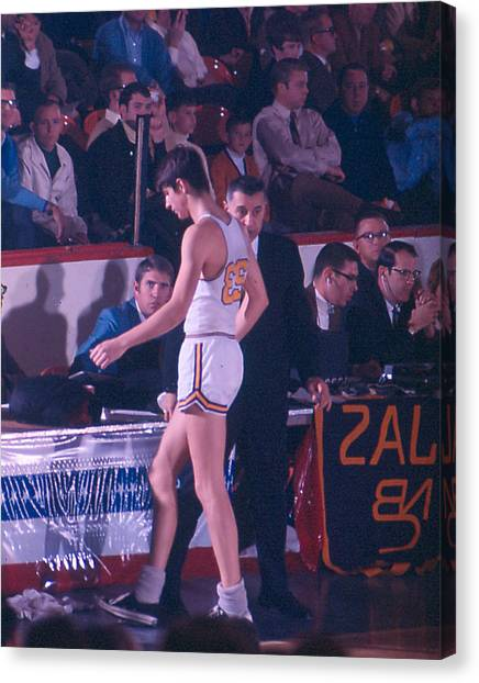 Pennsylvania State University Canvas Print - Pete Maravich Going To Sidelines by Retro Images Archive