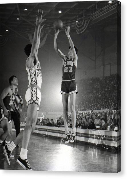 Pennsylvania State University Canvas Print - Pete Maravich Jump Shot by Retro Images Archive