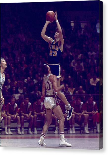 Louisiana State University Lsu Canvas Print - Pete Maravich Leaning Jumper by Retro Images Archive