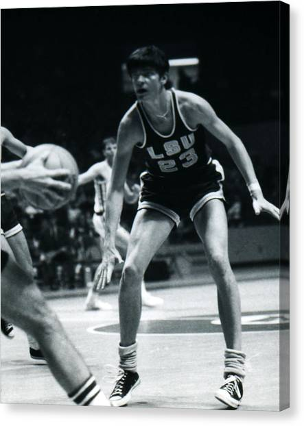 Pennsylvania State University Canvas Print - Pete Maravich Playing Defense by Retro Images Archive