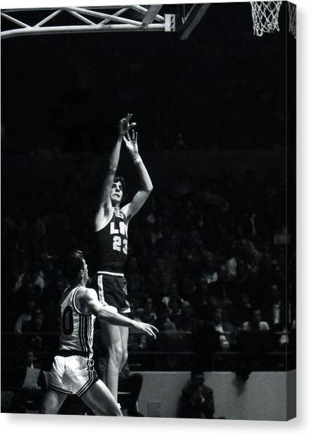 Pennsylvania State University Canvas Print - Pete Maravich Shooting From Distance by Retro Images Archive