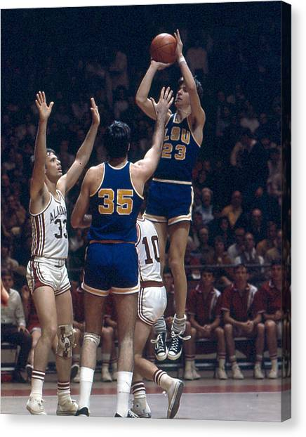 Pennsylvania State University Canvas Print - Pete Maravich Shooting In Traffic by Retro Images Archive