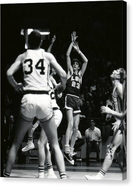 Pennsylvania State University Canvas Print - Pete Maravich Shooting Jumper by Retro Images Archive