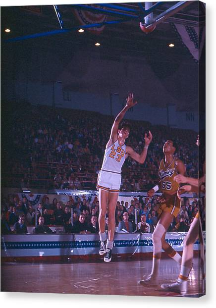 Atlanta Hawks Canvas Print - Pete Maravich Shot From The Corner by Retro Images Archive