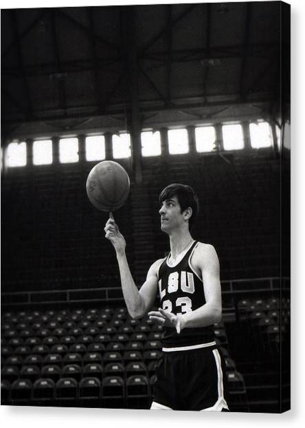 Pennsylvania State University Canvas Print - Pete Maravich Spinning Ball On Finger by Retro Images Archive