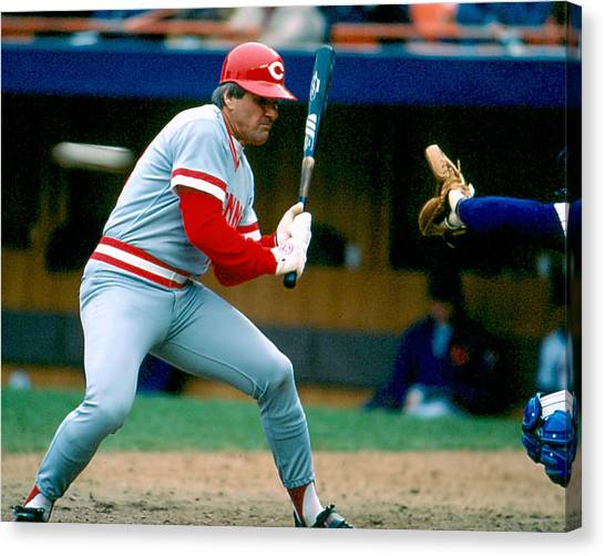 Cincinnati Reds Canvas Print - Pete Rose Taking Pitch by Retro Images Archive