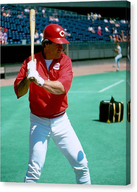 Cincinnati Reds Canvas Print - Pete Rose Warming Up by Retro Images Archive