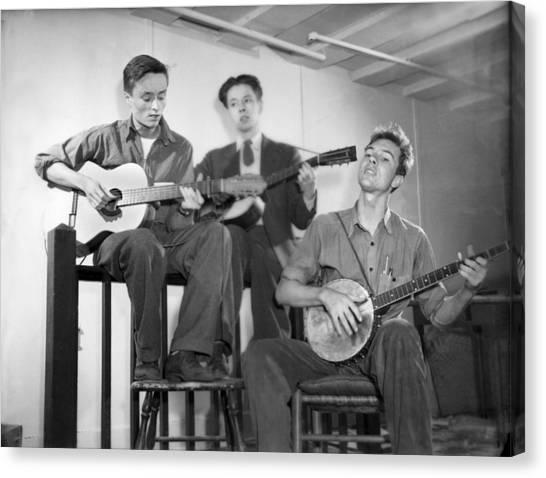 Folk Singer Canvas Print - Pete Seeger & Friends by Underwood Archives