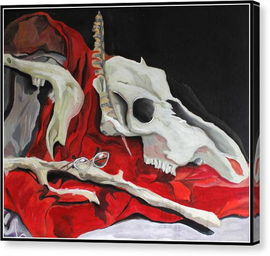 Pete The Skull Canvas Print by Kip Krause