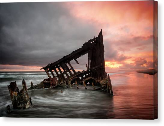 Peter Iredale Sunset Canvas Print