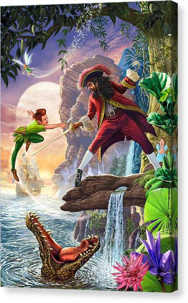 Crocodiles Canvas Print - Peter Pan And Captain Hook by Steve Crisp