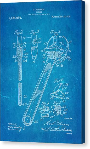 Wrenches Canvas Print - Peterson Wrench Patent Art 1915 Blueprint by Ian Monk