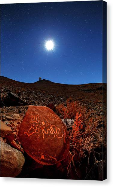 La Galaxy Canvas Print - Petroglyphs And La Silla Observatory by Babak Tafreshi