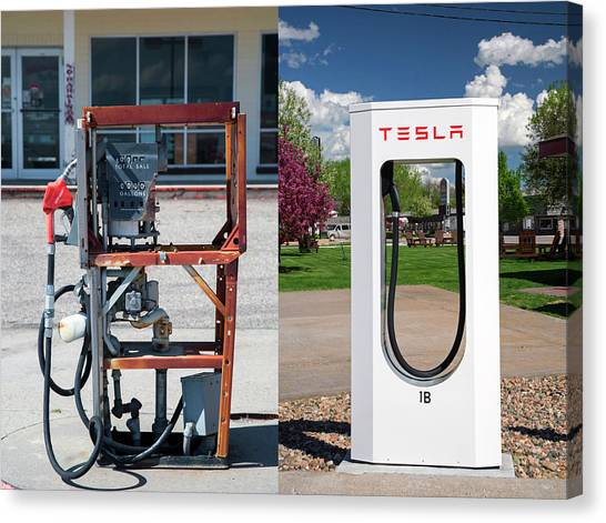 Petrol Pump And Electric Charging Point Canvas Print by Jim West
