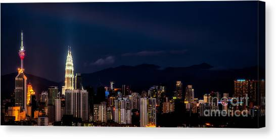City Centre Canvas Print - Petronas Lights by Adrian Evans