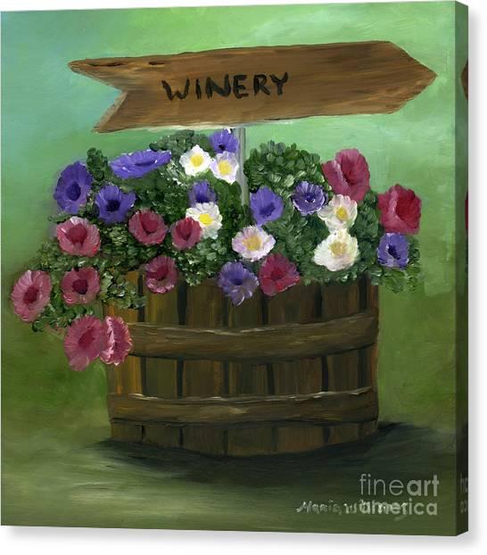 Petunias In A Barrel Canvas Print by Maria Williams