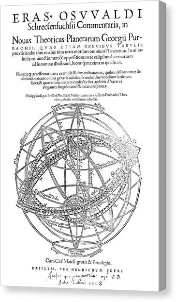 Celestial Sphere Canvas Print - Peurbach's Planetary Theories by Royal Astronomical Society/science Photo Library