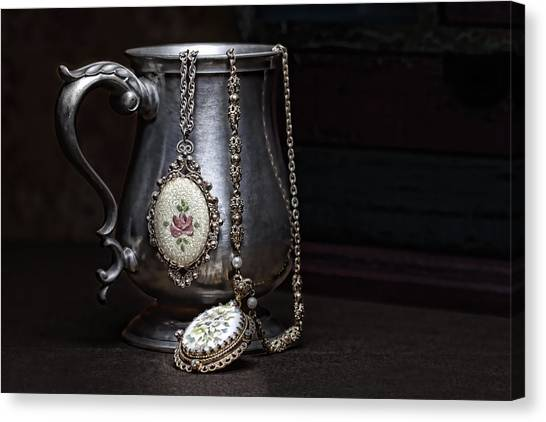 Necklace Canvas Print - Pewter Cup Still Life by Tom Mc Nemar