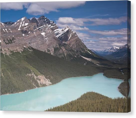 Peyto Lake And Caldron Peak Canvas Print by Richard Berry