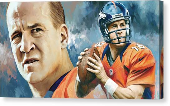 Quarterbacks Canvas Print - Peyton Manning Artwork by Sheraz A