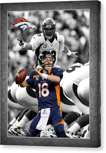 Denver Broncos Canvas Print - Peyton Manning Broncos by Joe Hamilton