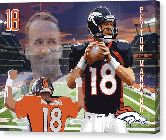 Drew Brees Canvas Print - Peyton Manning by Israel Torres