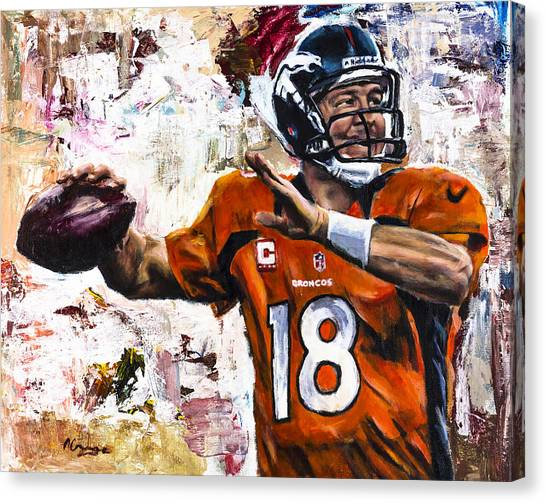 Football Players Canvas Print - Peyton Manning by Mark Courage