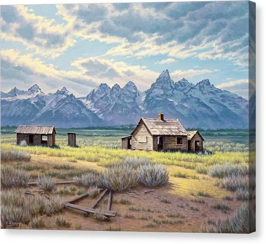 Tetons Canvas Print - Pfeiffer Homestead-tetons by Paul Krapf