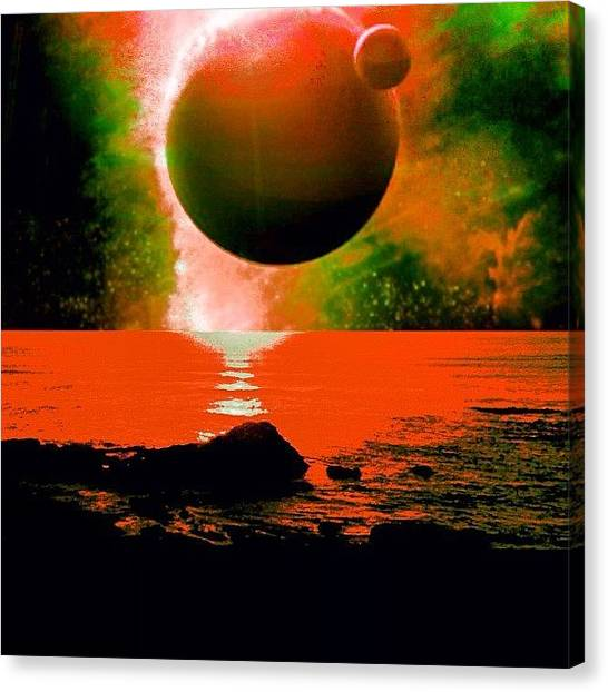 Lava Canvas Print - Phaedra And Theseus Rise Over The Lave by Urbane Alien