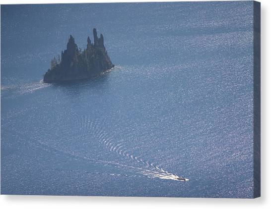 Canvas Print - Phantom Ship In Crater Lake In Crater by Phil Schermeister
