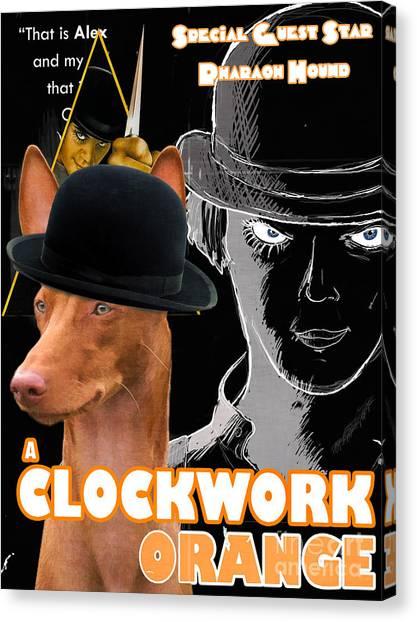 Clockwork Orange Canvas Print - Pharaoh Hound Art Canvas Print - A Clockwork Orange Movie Poster by Sandra Sij