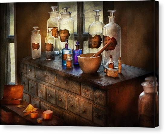 Drawers Canvas Print - Pharmacist - Medicinal Equipment  by Mike Savad