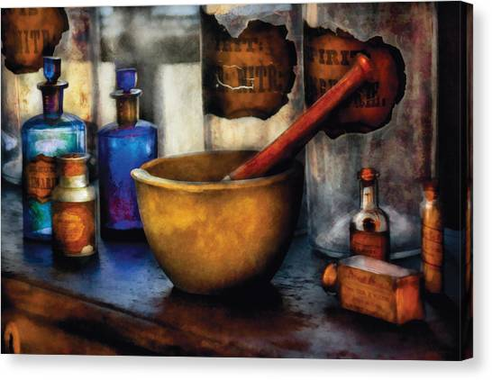 Medicine Canvas Print - Pharmacist - Mortar And Pestle by Mike Savad