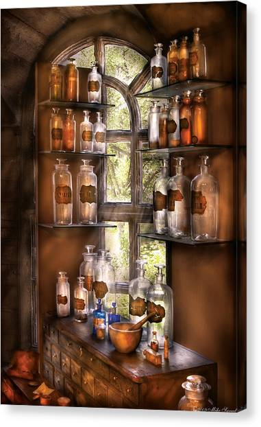 Glass Art Canvas Print - Pharmacist - Various Potions by Mike Savad