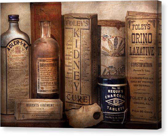 Apothecaries Canvas Print - Pharmacy - Cures For The Bowels by Mike Savad