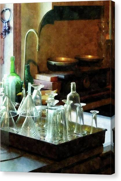 Pharmacy - Glass Funnels And Bottles Canvas Print