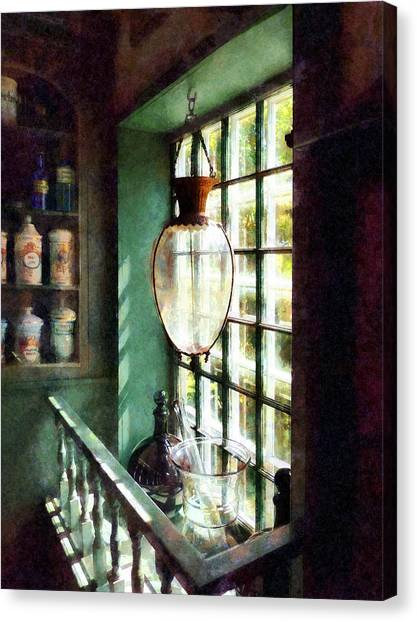 Pharmacy - Glass Mortar And Pestle On Windowsill Canvas Print