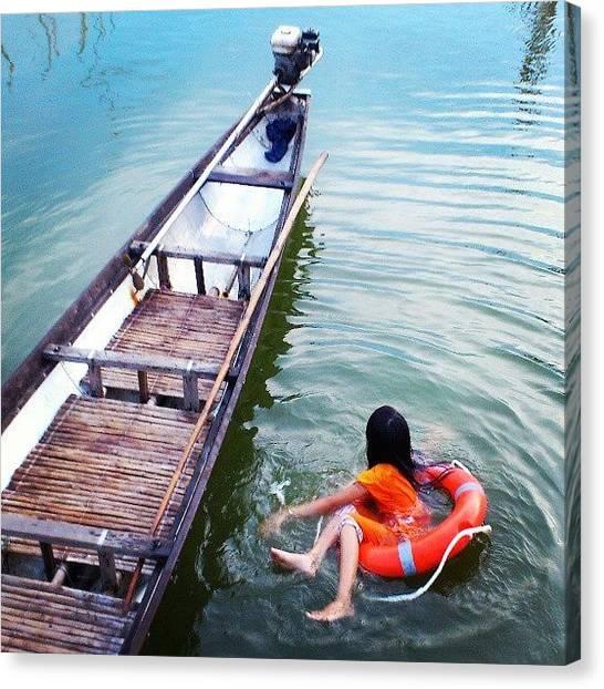 Backpacks Canvas Print - #phatamgiang #hue #huecity #ontheroad by An Chung