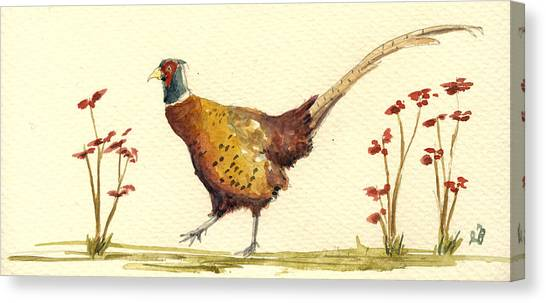 Pheasant Canvas Print - Pheasant In The Flowers by Juan  Bosco