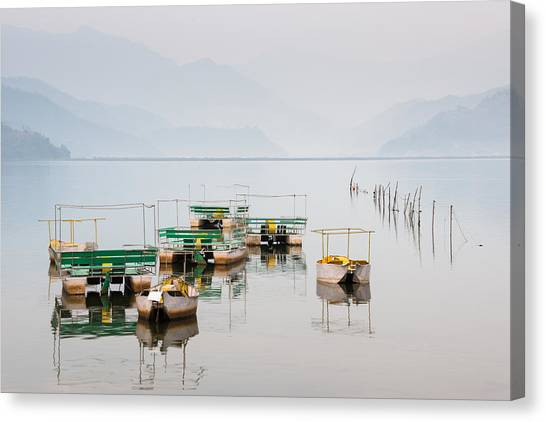 Phewa Lake In Pokhara Nepal Canvas Print