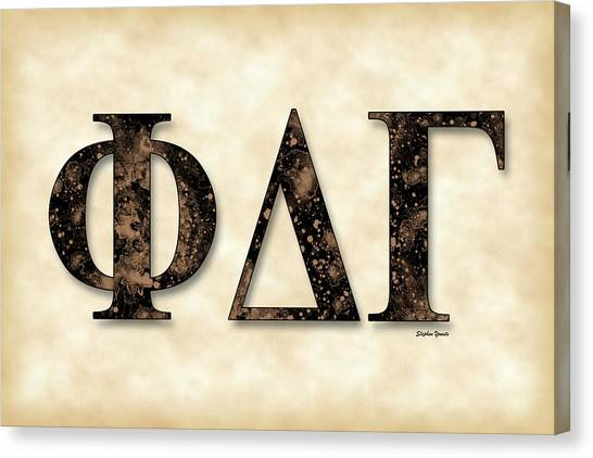 Delta Gamma Canvas Print - Phi Delta Gamma - Parchment by Stephen Younts